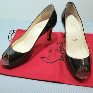 Christian Louboutin black patent peep toe pumps